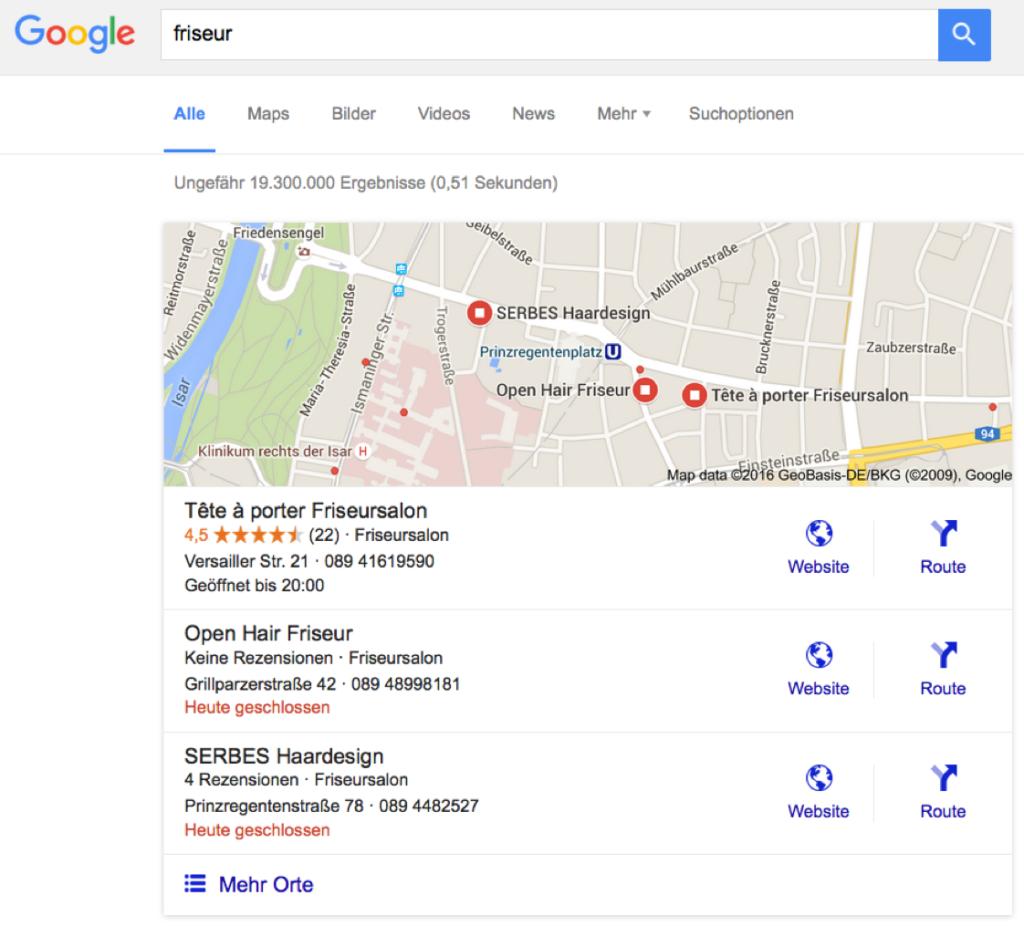 Bild von individuellem Suchergebnis mit dem Keyword [Friseur] für den Prinzregentenplatz in München.