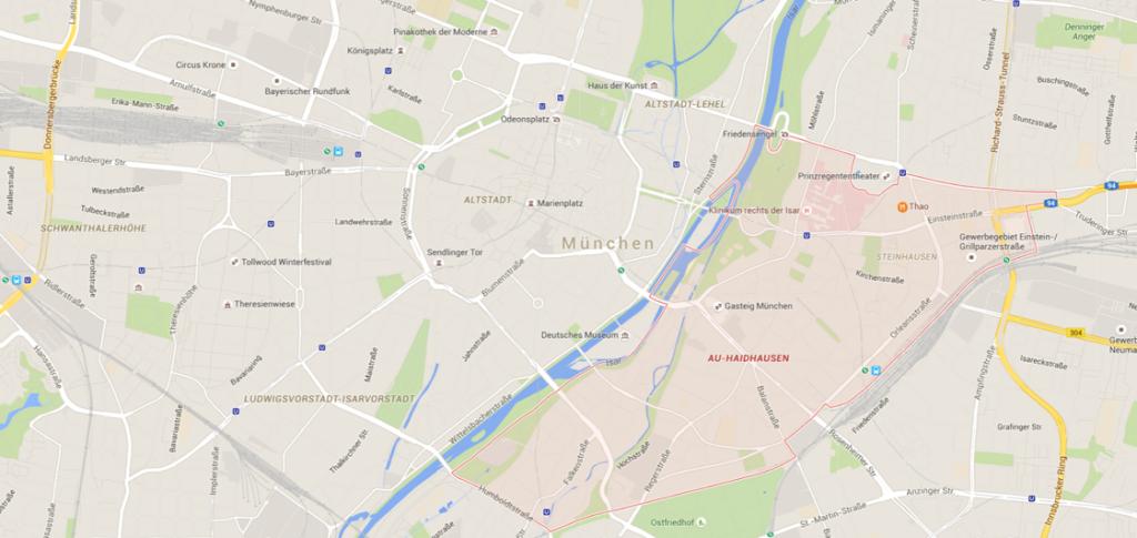 Google Maps gibt Aufschluss über die Stadtteilzuordnung.