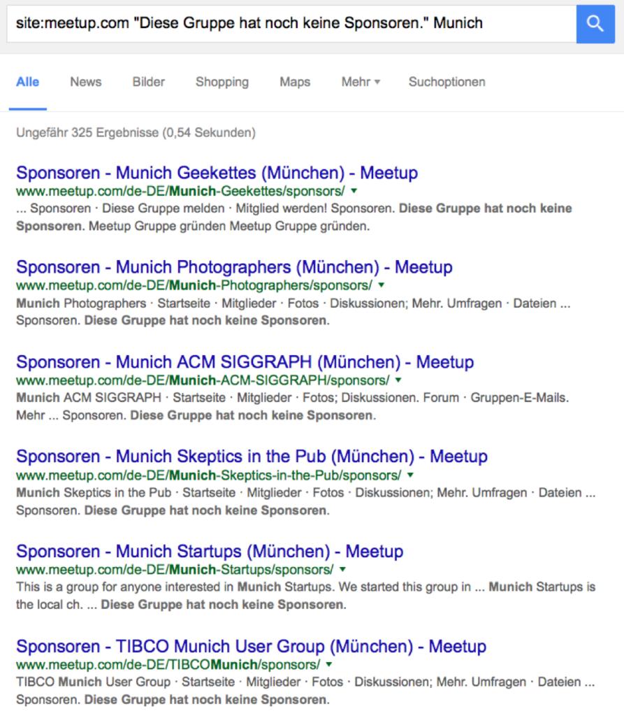 Eine Site-Abfrage von meetup.com liefert lokale Gruppen ohne Sponsoren.